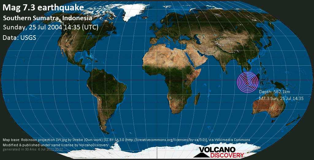 Major mag. 7.3 earthquake  - Southern Sumatra, Indonesia on Sunday, 25 July 2004
