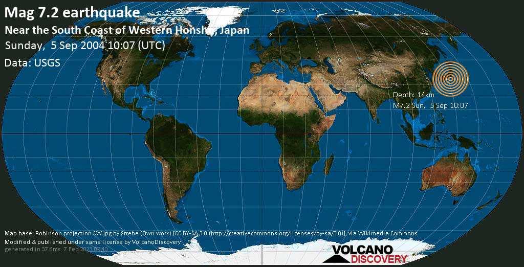 Major mag. 7.2 earthquake  - Near the South Coast of Western Honshu, Japan on Sunday, 5 September 2004