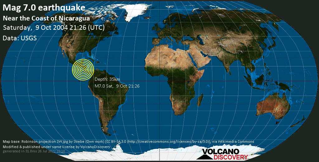 Major magnitude 7.0 earthquake - North Pacific Ocean, 91 km southwest of Managua, Nicaragua, on Saturday, October 9, 2004 at 21:26 (GMT)