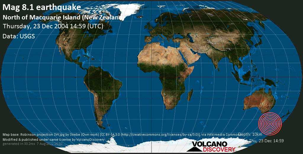 Great magnitude 8.1 earthquake  - North of Macquarie Island (New Zealand) on Thursday, 23 December 2004 at 14:59 (GMT)