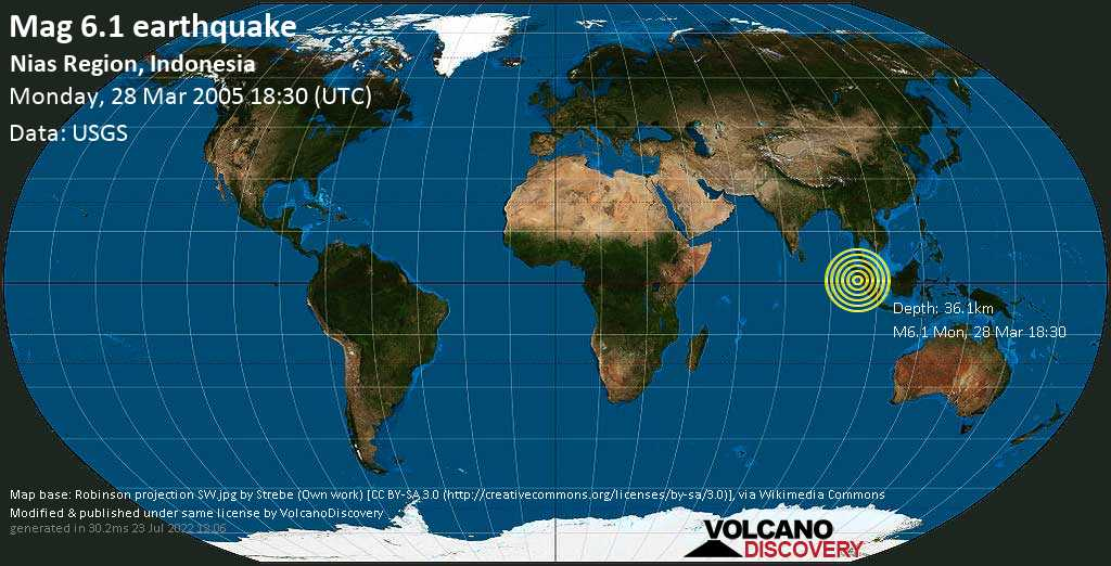Strong mag. 6.1 earthquake - 136 km southwest of Sibolga, North Sumatra, Indonesia, on Monday, 28 March 2005 at 18:30 (GMT)