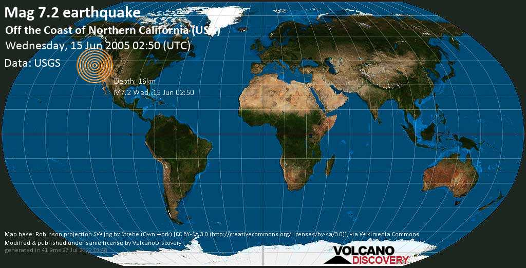 Major magnitude 7.2 earthquake - North Pacific Ocean, 99 mi west of Eureka, Humboldt County, California, USA, on Wednesday, June 15, 2005 at 02:50 (GMT)