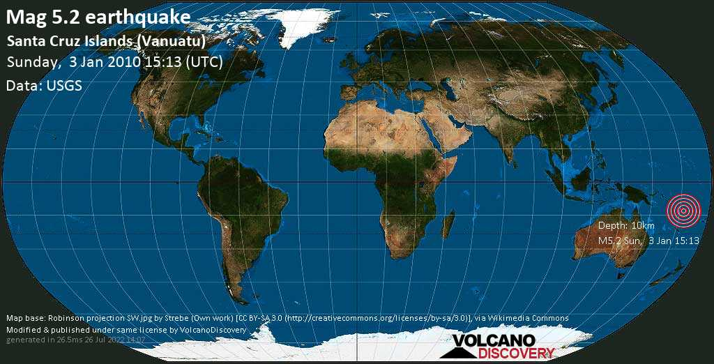 Strong mag. 5.2 earthquake - Coral Sea, 588 km northwest of Port Vila, Shefa Province, Vanuatu, on Sunday, 3 January 2010 at 15:13 (GMT)