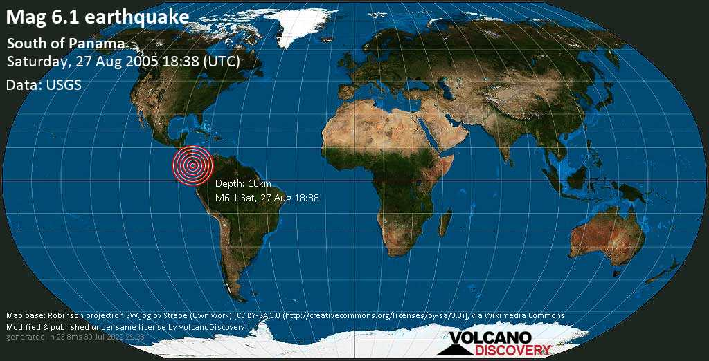 Very strong mag. 6.1 earthquake - North Pacific Ocean, 179 km south of David, Provincia de Chiriqui, Panama, on Saturday, August 27, 2005 at 18:38 (GMT)