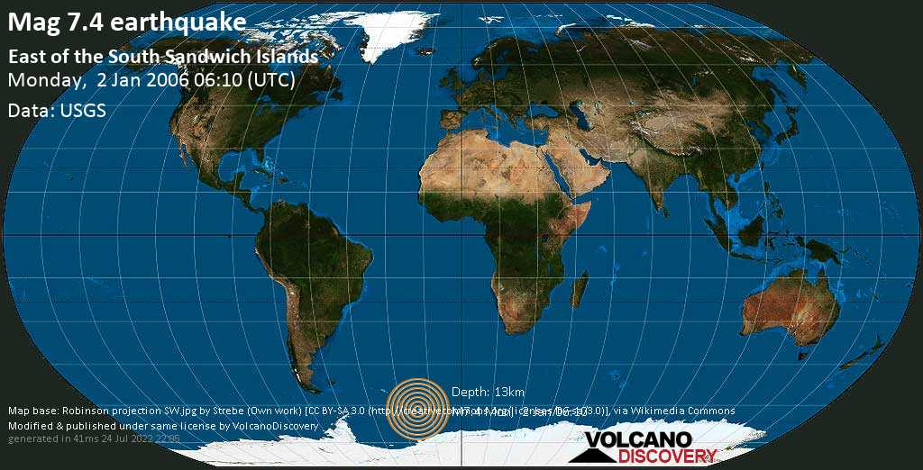 Major magnitude. 7.4 earthquake  - East of the South Sandwich Islands on Monday, 2 January 2006 at 06:10 (GMT)