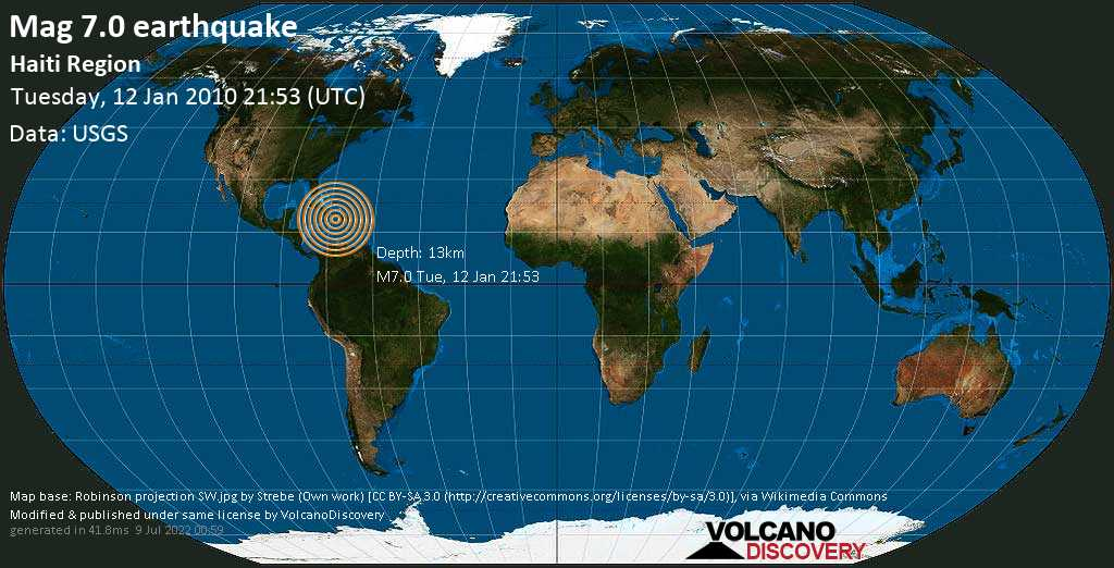 Major magnitude 7.0 earthquake - 10 km southeast of Léogâne, Leyogàn, Département de l\'Ouest, Haiti, on Tuesday, January 12, 2010 at 21:53 (GMT)
