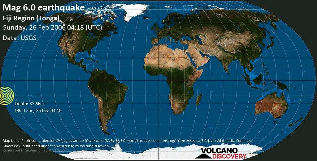 Strong mag. 6.0 earthquake  - Fiji Region (Tonga) on Sunday, 26 February 2006