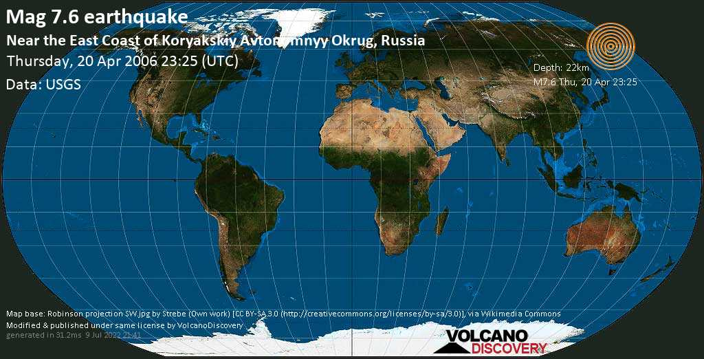 Major mag. 7.6 earthquake  - Near the East Coast of Koryakskiy Avtonomnyy Okrug, Russia on Thursday, 20 April 2006