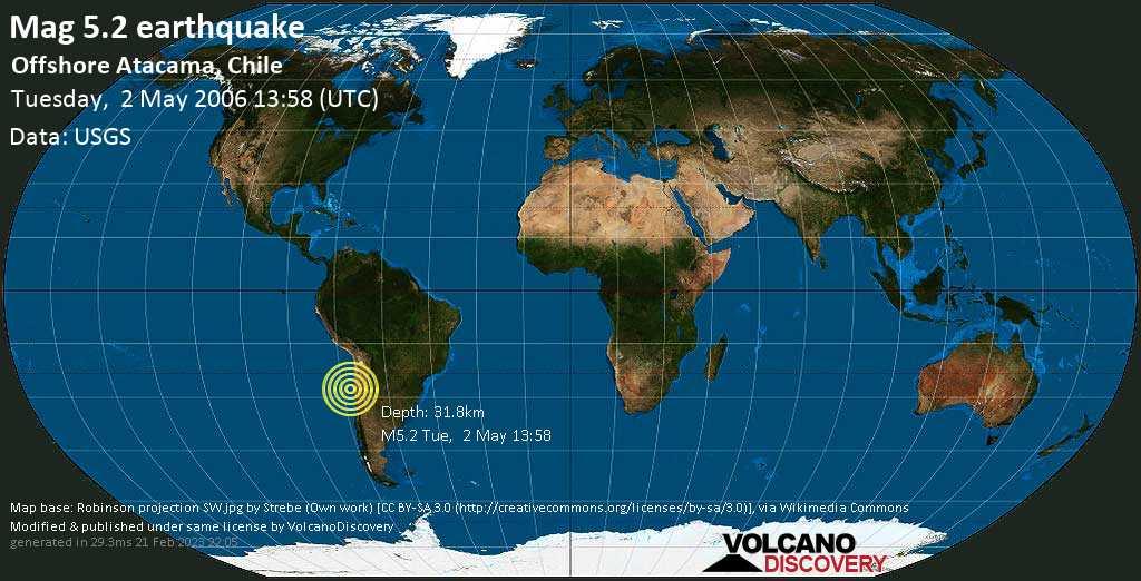 Moderado terremoto magnitud 5.2 - South Pacific Ocean, 134 km W of Copiapó, Provincia de Copiapo, Atacama, Chile, martes, 02 may. 2006