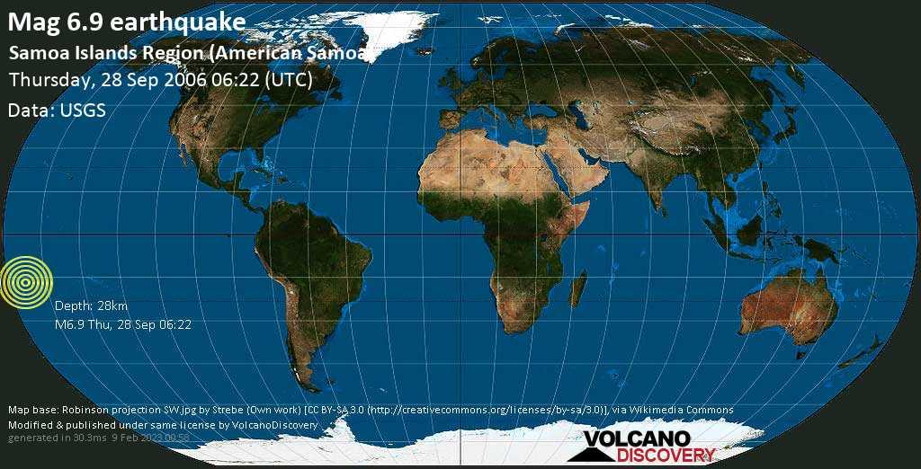 Strong mag. 6.9 earthquake  - Samoa Islands Region (American Samoa) on Thursday, 28 September 2006 at 06:22 (GMT)