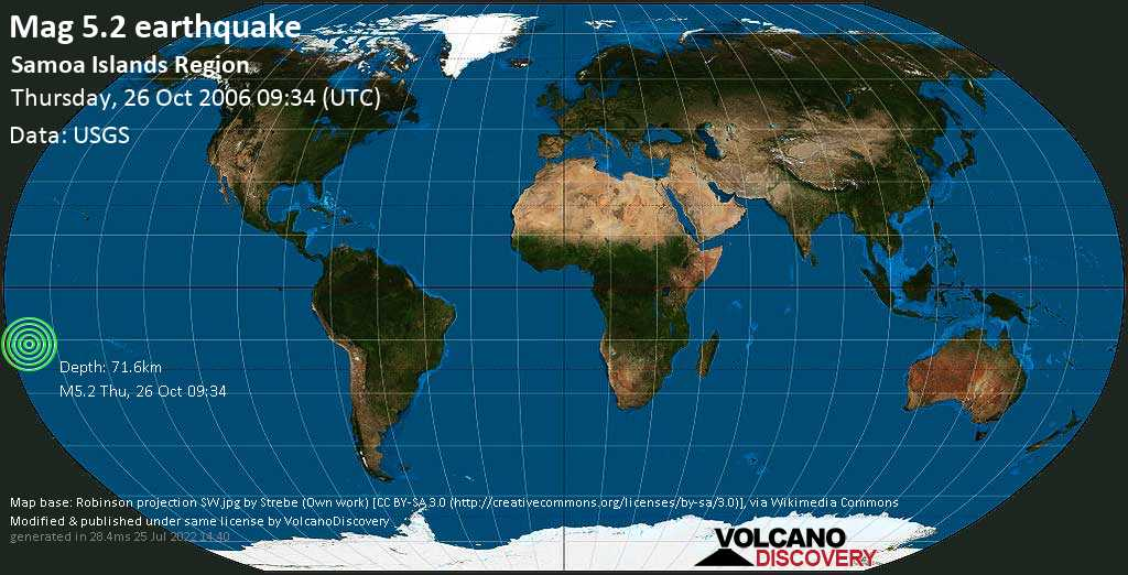 Moderate mag. 5.2 earthquake - South Pacific Ocean, 257 km southwest of Apia, Tuamasaga, Samoa, on Thursday, 26 October 2006 at 09:34 (GMT)