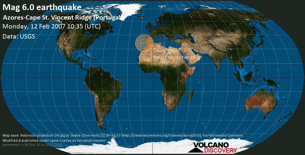 Strong mag. 6.0 earthquake  - Azores-Cape St. Vincent Ridge (Portugal) on Monday, 12 February 2007 at 10:35 (GMT)