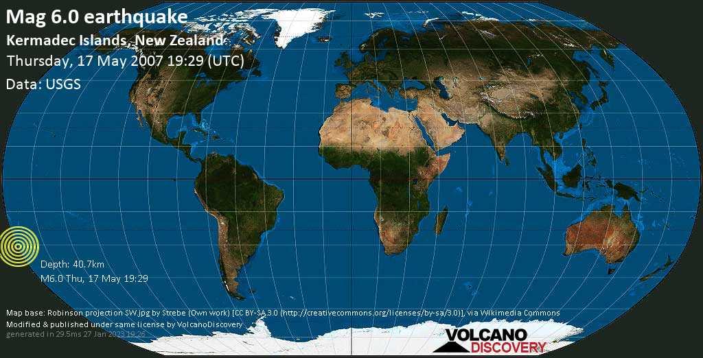 Forte terremoto magnitudine 6.0 - Kermadec Islands, New Zealand, giovedì, 17 maggio 2007