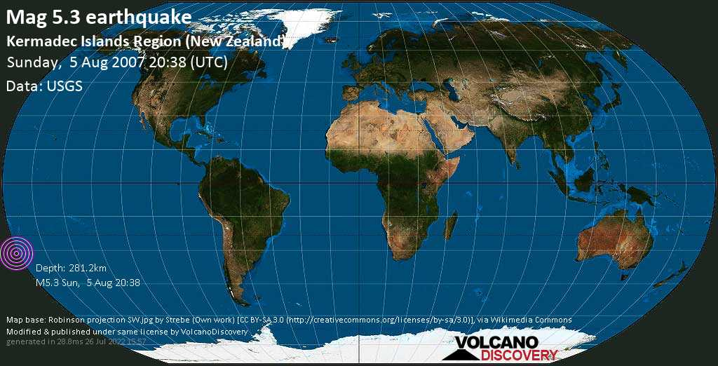 Moderate mag. 5.3 earthquake - South Pacific Ocean, New Zealand, on Sunday, 5 August 2007 at 20:38 (GMT)