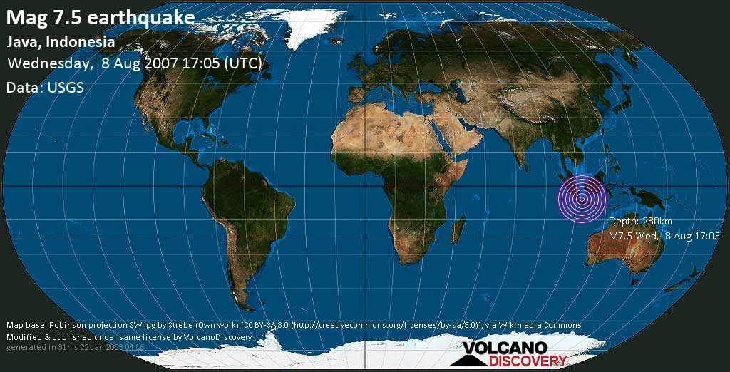Molto forte terremoto magnitudine 7.5 - Java, Indonesia, mercoledì, 08 agosto 2007