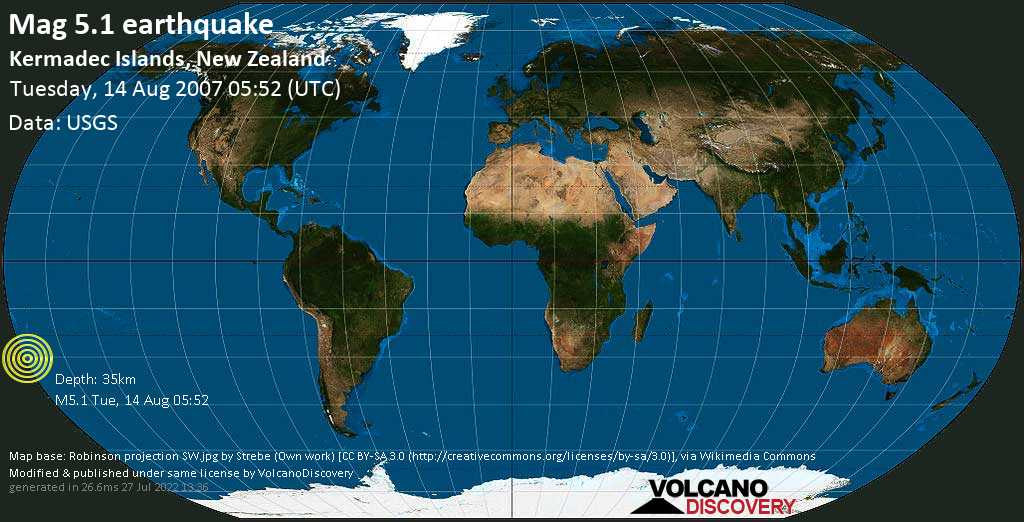 Moderate mag. 5.1 earthquake  - Kermadec Islands, New Zealand, on Tuesday, 14 August 2007 at 05:52 (GMT)