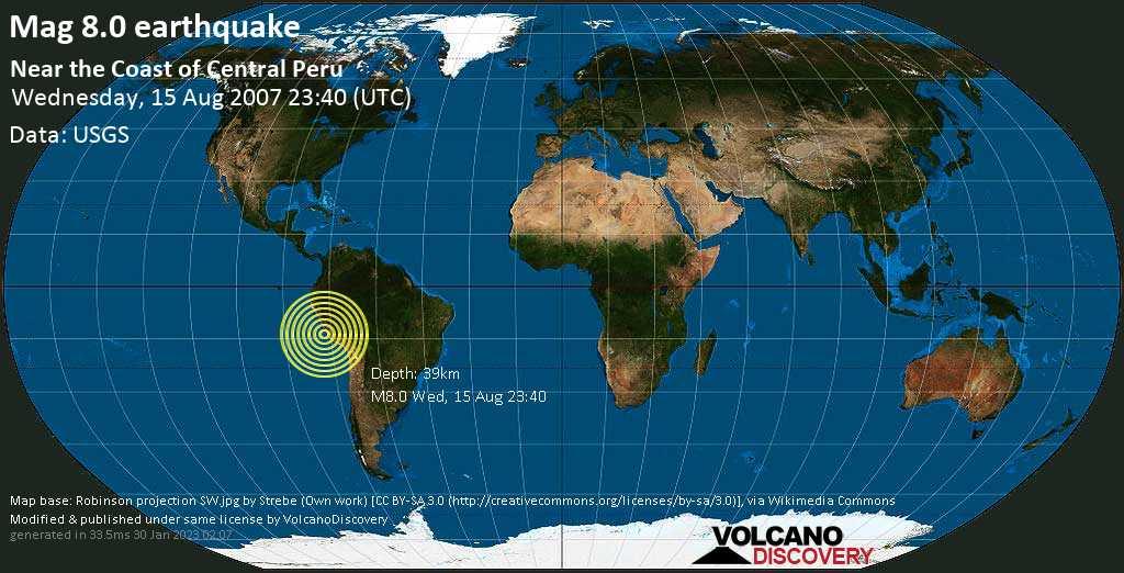 Schweres Erdbeben der Stärke 8.0 - Near the Coast of Central Peru, am Mittwoch, 15. Aug 2007 um 23:40 GMT