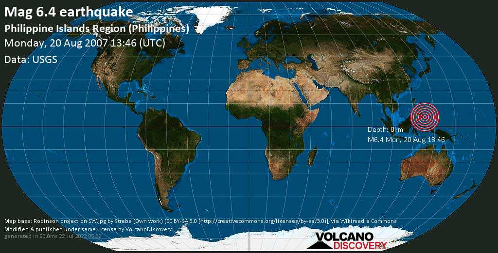 Strong mag. 6.4 earthquake  - Philippine Islands Region (Philippines) on Monday, 20 August 2007 at 13:46 (GMT)