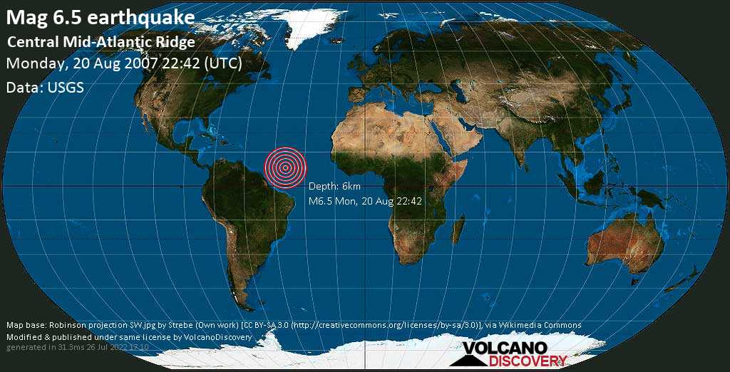 Strong mag. 6.5 earthquake  - Central Mid-Atlantic Ridge on Monday, 20 August 2007