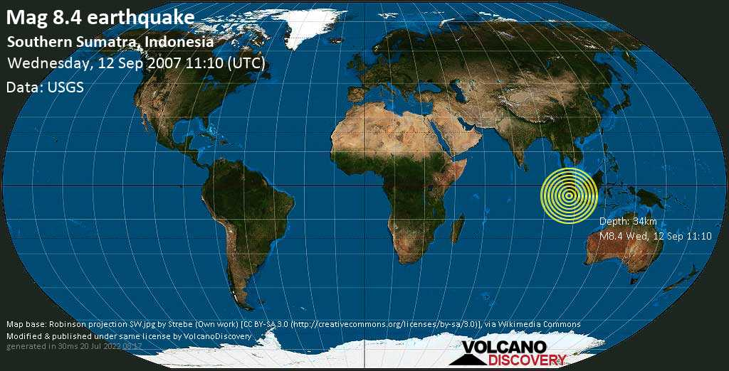 Great mag. 8.4 earthquake  - Southern Sumatra, Indonesia on Wednesday, 12 September 2007