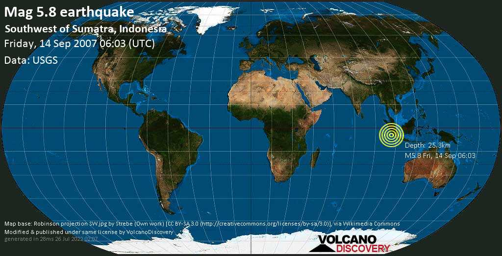 Moderate mag. 5.8 earthquake  - Southwest of Sumatra, Indonesia, on Friday, 14 September 2007 at 06:03 (GMT)