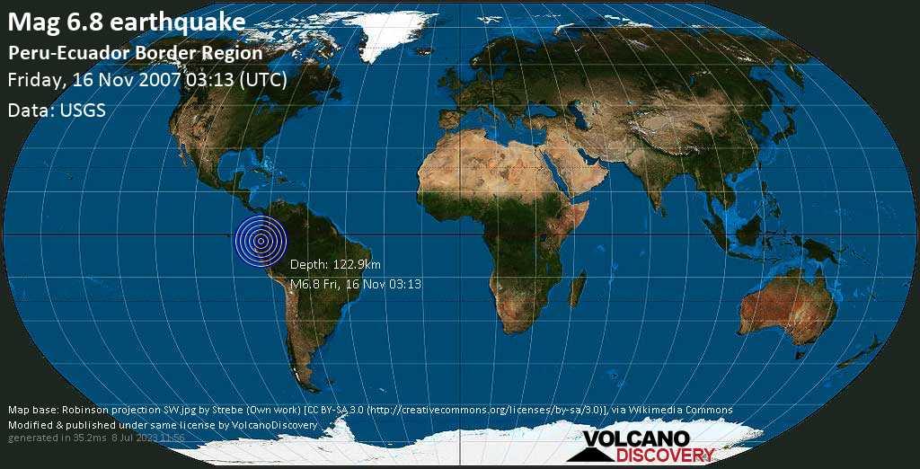 Strong mag. 6.8 earthquake - 30 km east of Macas, Canton Morona, Provincia de Morona-Santiago, Ecuador, on Friday, 16 November 2007 at 03:13 (GMT)