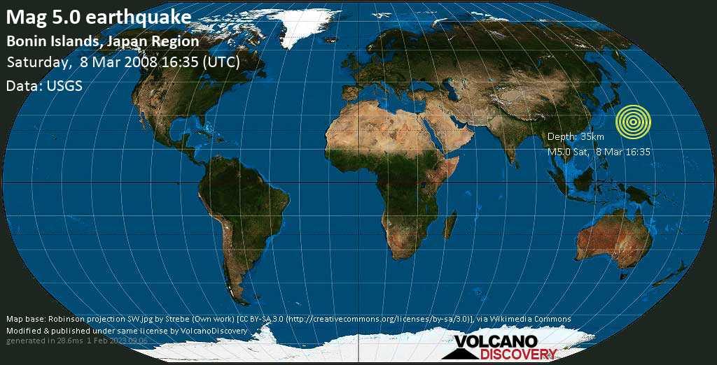 Moderates Erdbeben der Stärke 5.0 - Nordpazifik, 57 km südöstlich von Chichijima , Japan, am Samstag,  8. Mär 2008 um 16:35 GMT
