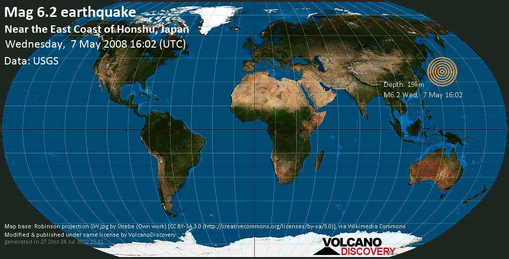 Strong mag. 6.2 earthquake  - Near the East Coast of Honshu, Japan on Wednesday, 7 May 2008