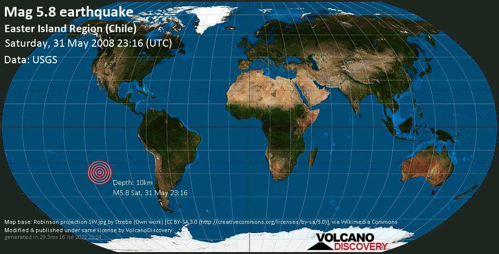 Moderate mag. 5.8 earthquake  - South Pacific Ocean, 3965 km west of Santiago, Provincia de Santiago, Santiago Metropolitan, Chile, on Saturday, 31 May 2008 at 23:16 (GMT)