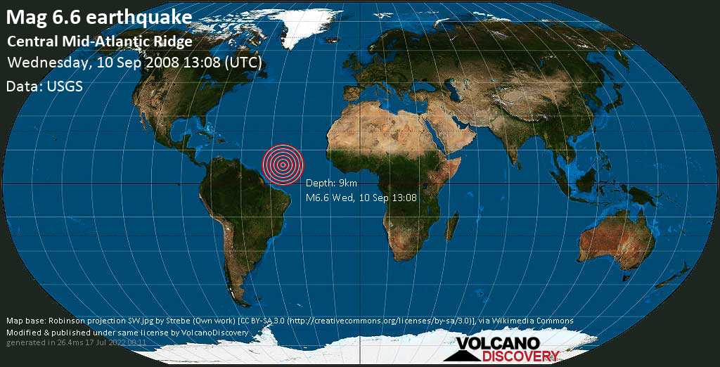 Strong mag. 6.6 earthquake  - Central Mid-Atlantic Ridge on Wednesday, 10 September 2008