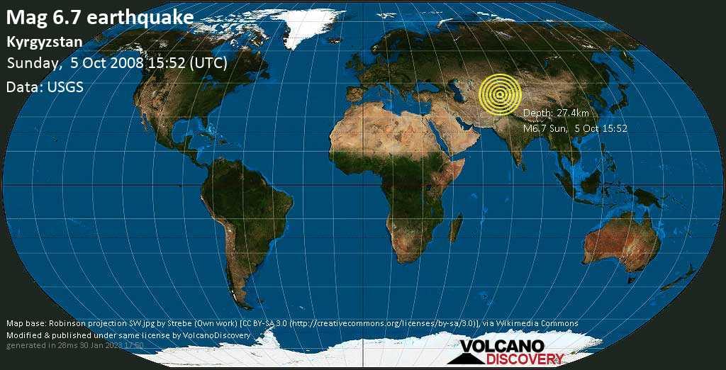 Very strong mag. 6.7 earthquake - 186 km west of Kashgar, Xinjiang, China, on Sunday, October 5, 2008 at 15:52 (GMT)