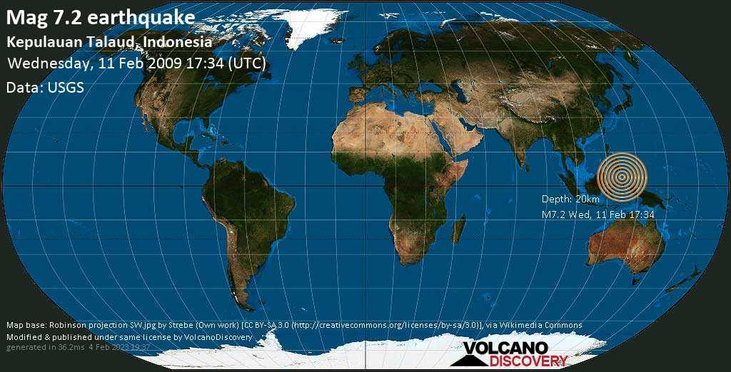Major mag. 7.2 earthquake  - Kepulauan Talaud, Indonesia on Wednesday, 11 February 2009