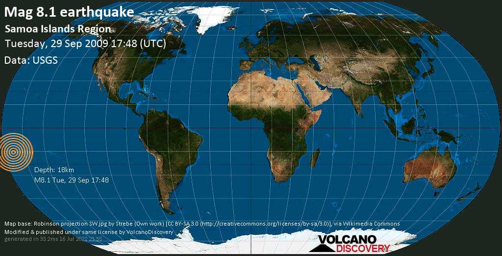 Great mag. 8.1 earthquake  - Samoa Islands Region on Tuesday, 29 September 2009