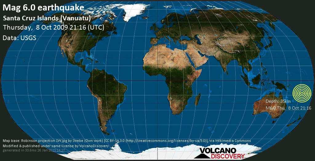 Strong mag. 6.0 earthquake - Coral Sea, 578 km northwest of Port Vila, Shefa Province, Vanuatu, on Thursday, 8 October 2009 at 21:16 (GMT)