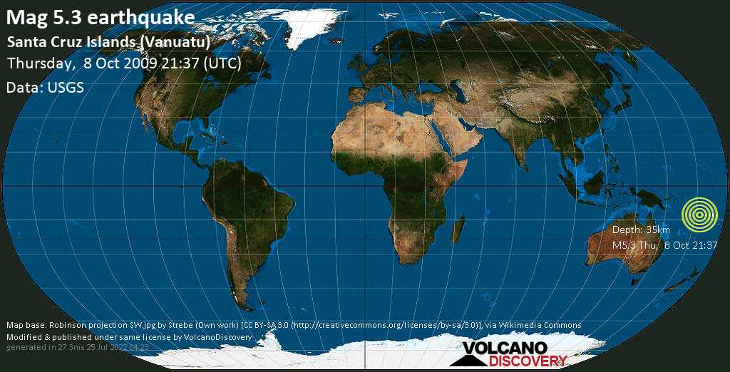 Moderate mag. 5.3 earthquake - Coral Sea, 631 km north of Port Vila, Shefa Province, Vanuatu, on Thursday, 8 October 2009 at 21:37 (GMT)