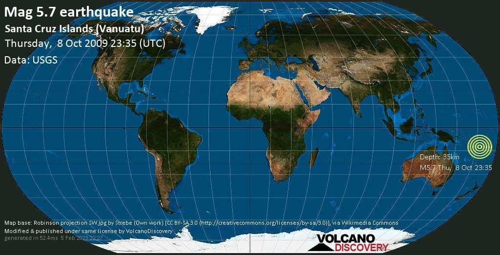 Strong mag. 5.7 earthquake - Coral Sea, 618 km north of Port Vila, Shefa Province, Vanuatu, on Thursday, 8 October 2009 at 23:35 (GMT)