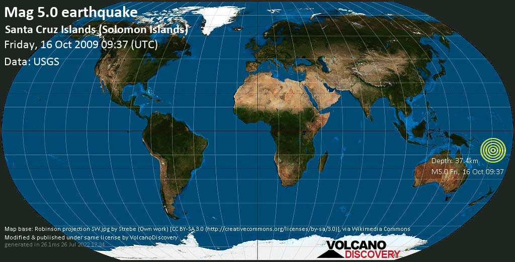 Moderate mag. 5.0 earthquake - Coral Sea, Solomon Islands, on Friday, 16 October 2009 at 09:37 (GMT)