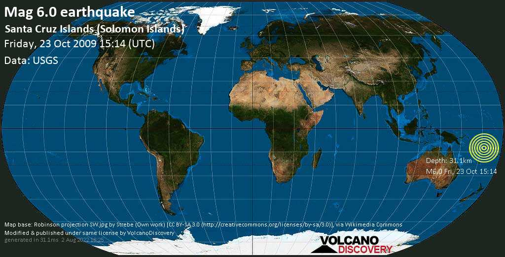 Strong mag. 6.0 earthquake - Coral Sea, Solomon Islands, on Friday, 23 October 2009 at 15:14 (GMT)