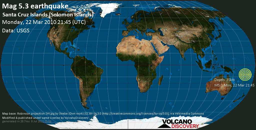 Moderate mag. 5.3 earthquake - Coral Sea, Solomon Islands, on Monday, 22 March 2010 at 21:45 (GMT)