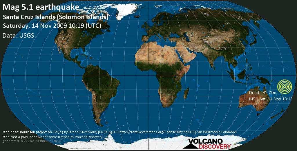 Moderate mag. 5.1 earthquake - Coral Sea, Solomon Islands, on Saturday, 14 November 2009 at 10:19 (GMT)