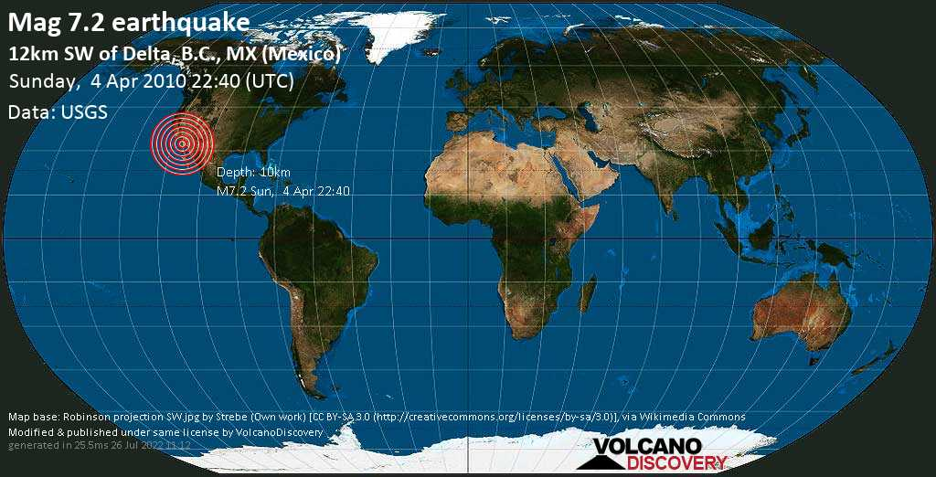 Major mag. 7.2 earthquake  - 12km SW of Delta, B.C., MX (Mexico) on Sunday, 4 April 2010