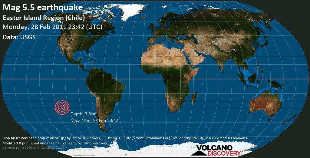 Moderate mag. 5.5 earthquake  - South Pacific Ocean, 3928 km west of Santiago, Provincia de Santiago, Santiago Metropolitan, Chile, on Monday, 28 February 2011 at 23:42 (GMT)