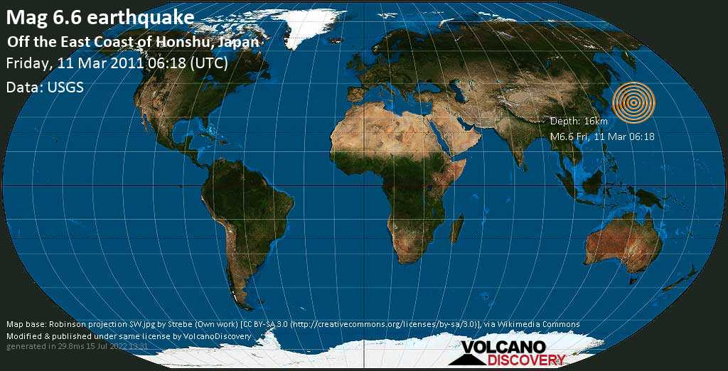 Strong mag. 6.6 earthquake  - Off the East Coast of Honshu, Japan on Friday, 11 March 2011