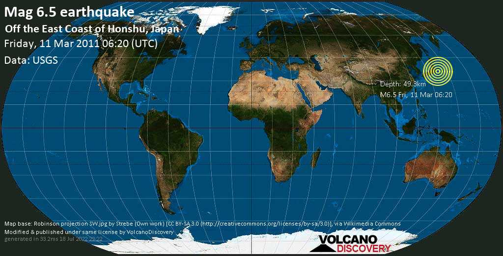 Strong mag. 6.5 earthquake  - Off the East Coast of Honshu, Japan on Friday, 11 March 2011
