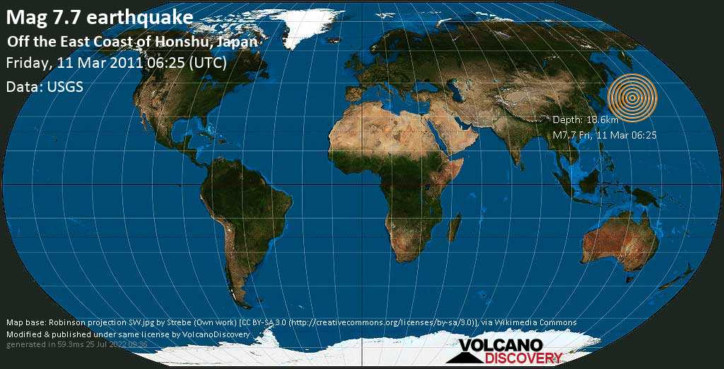 Major mag. 7.7 earthquake  - Off the East Coast of Honshu, Japan, on Friday, 11 March 2011 at 06:25 (GMT)