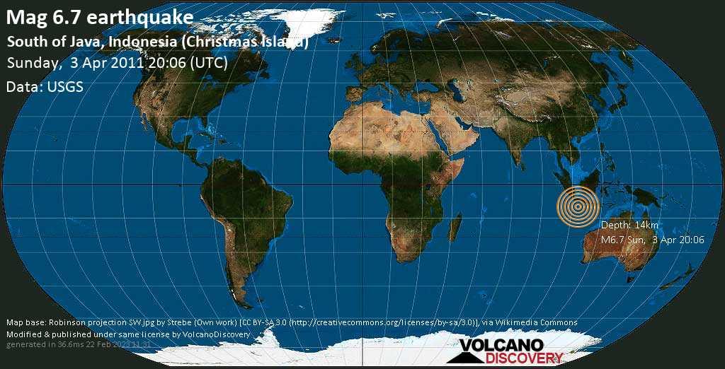 Strong mag. 6.7 earthquake  - South of Java, Indonesia (Christmas Island) on Sunday, 3 April 2011