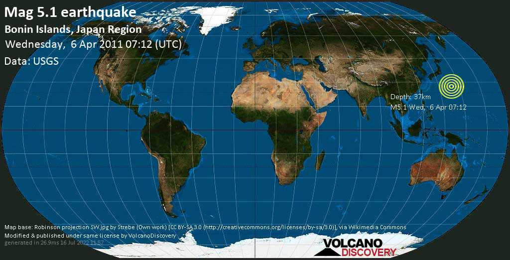 Moderate mag. 5.1 earthquake - North Pacific Ocean, 1009 km south of Tokyo, Japan, on Wednesday, 6 April 2011 at 07:12 (GMT)