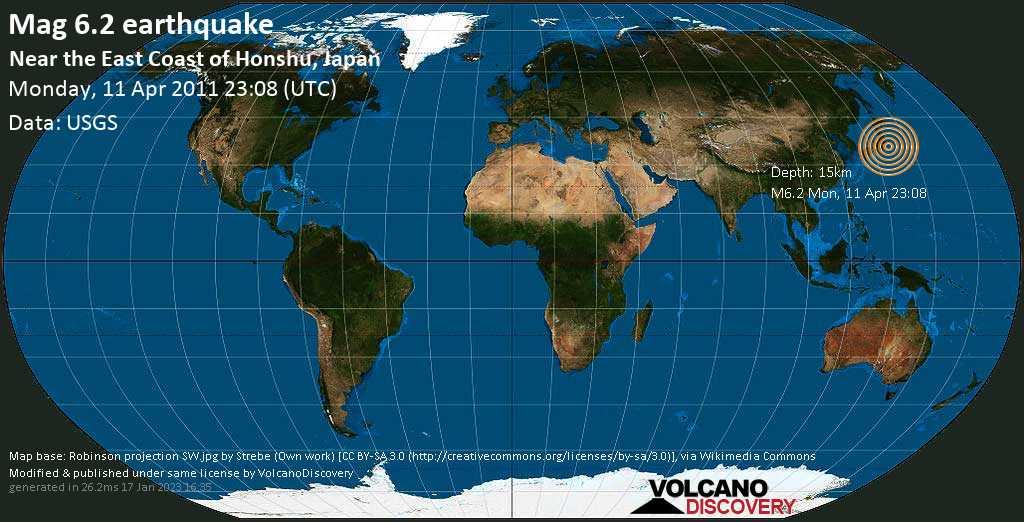 Strong mag. 6.2 earthquake  - Near the East Coast of Honshu, Japan on Monday, 11 April 2011