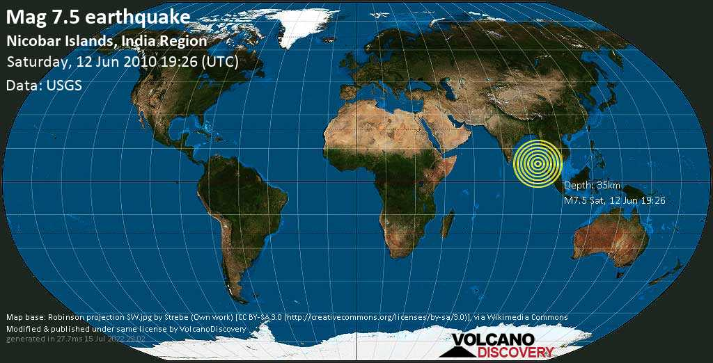 Major mag. 7.5 earthquake  - Nicobar Islands, India Region on Saturday, 12 June 2010