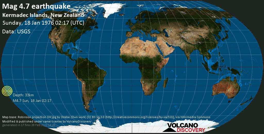 Mag. 4.7 earthquake  - Kermadec Islands, New Zealand, on Sunday, 18 January 1976 at 02:17 (GMT)